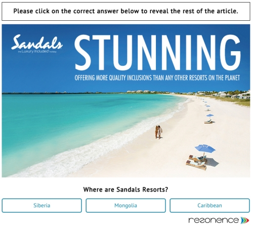 CASE STUDY: FreeWall® produces 3.6% click-through for Sandals