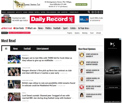 Advertise on dailyrecord.co.uk