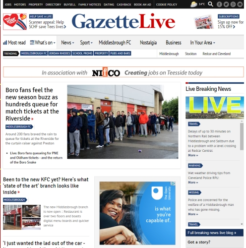 Print and online advertising across Teeside with The Gazette
