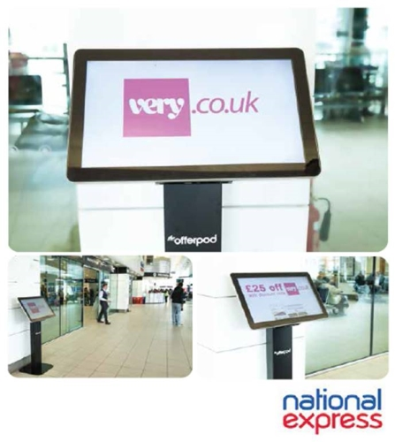 Digital advertising on Offerpods at National Express stations