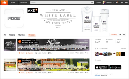 CASE STUDY: AXE White Label artist collaboration via Soundcloud