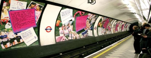 Full length platform advertising on the London Underground