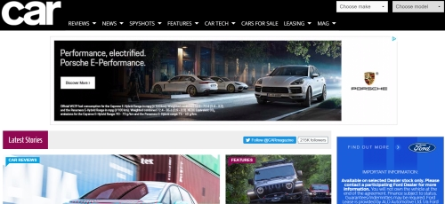 Advertise on the website of Car magazine