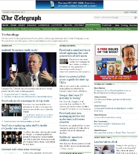 Technology cross-media packages from the Telegraph