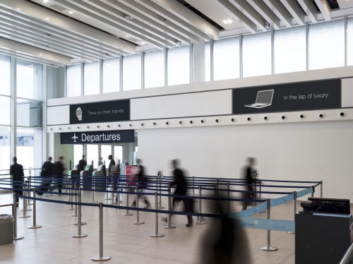 Queuing Zone Light Boxes Targets AB Demo at London City Airport